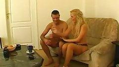 Blonde Dutch MILF Couch Sex