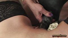 Lesbian grannies amateur anal dildo penetration with oil