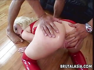 Thai slut and her blonde friend fucked by two huge cocks