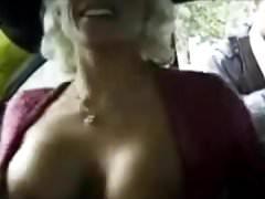 Blonde masturbates in New York cab