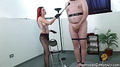 Mistress Severa femdom pantyhose cbt bondage torment of male