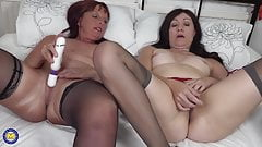 Mature lesbians masturbate and fuck each other