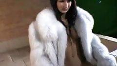 Babe in Fur Coat Smokes