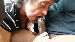 Ebony bbw granny head and swallow