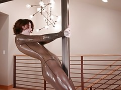 Latex Catsuit in Smokey Transparent Humping