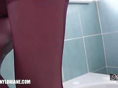 Hot Milf tease covers sexy feet in soaking wet nylon in bath