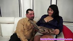 Lingerie loving granny loves riding cock