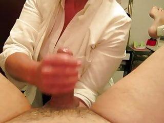 nurse giving medical oil massage handjob with fisting