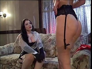 Hot lesbian licks her master's feet before being pounded