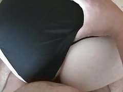 Premature cumshot onto black satin panties
