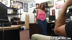Nerdy babe has hardcore fuck session with a pawnbroker