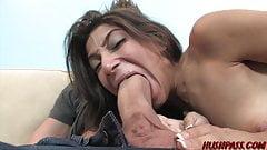 Nubile latina Allie Jordan amazed by monster white cock