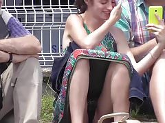 French Upskirt see through panty public exhib slowmotion