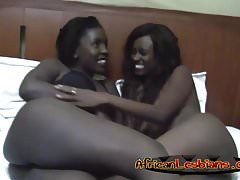 Alluring ebony babes having some lesbian sex