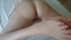 Totally long toes, cum on her ass