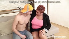 Redhead German granny abuses nephew with her big tits's Thumb