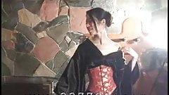 Japanese kimono mistress K hit slaves with a whip