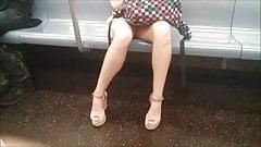 MILF legs on train