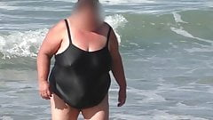 ssbbw granny in the black wet swimsuit
