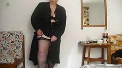 V in black stockings