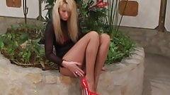 voyeur red high heels pantyhose in public