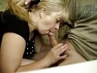 Russian mother gives a blowjob
