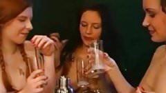 beautiful girls drinking cum