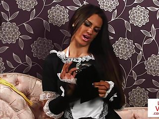 English maid voyeur instructing guy to jerk