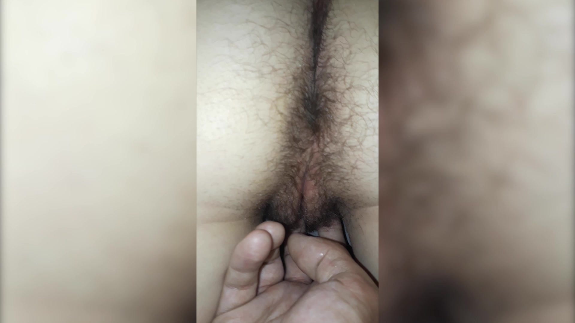 Fingering wet hairy girlfriend pussy