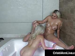 Latinas Cristi Ann & Nina Kayy Get Oiled Up In The Hot Tub!