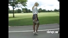 Hot Blonde Stiletto Girl With Great Legs Teasing Sexy Heels
