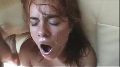 She gets a facial while she cums