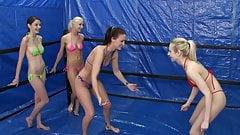 oily bikini tanga fight