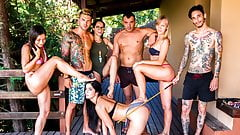 CROWD BONDAGE - Outdoor BDSM and pool sex for Loren Minardi