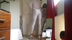 Crossdresser Danni having fun In Leggings and Nylon