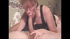 Hot grandma giving a deepthroat to a big cock and get cum in
