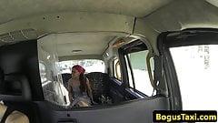 Brazilian taxi amateur jizzed on pussy