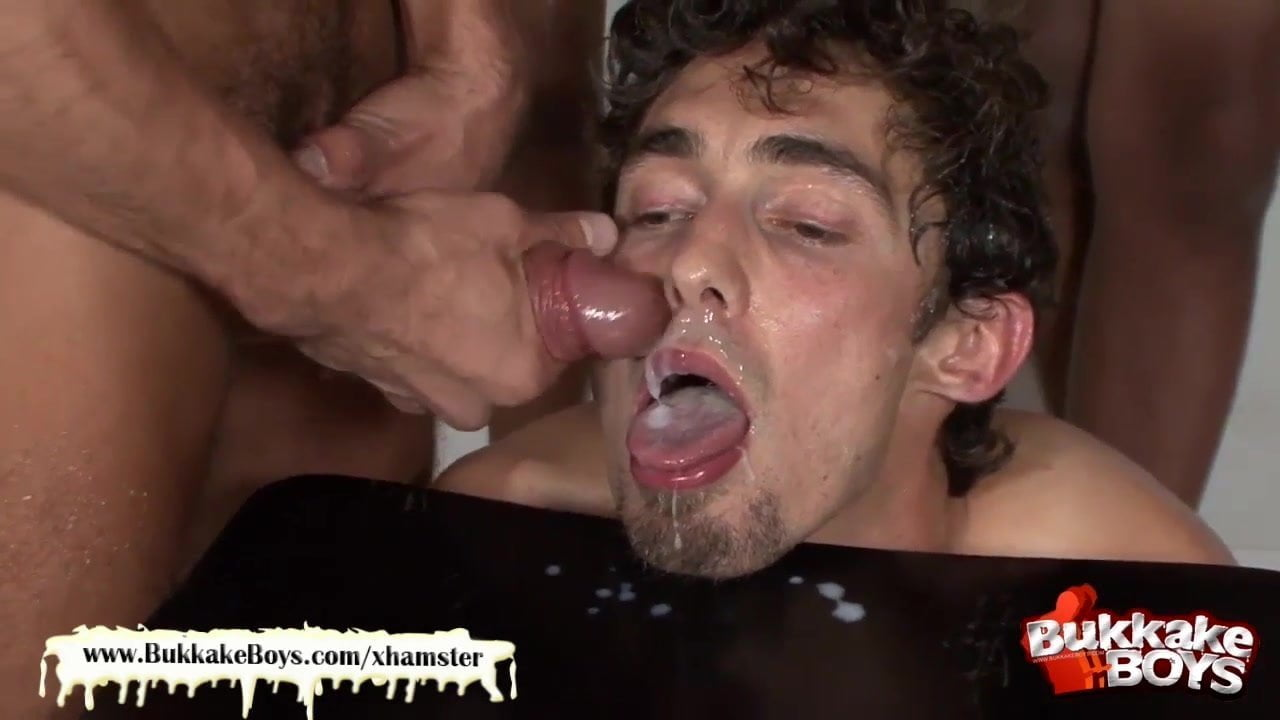 Bukkake soaks twink before he takes dick