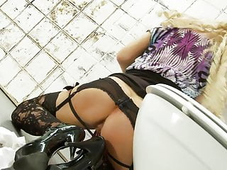 Cheating wife gets a rough fucking by the neighbour through a gloryhole