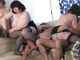MOMs fuck each other and lucky young boy