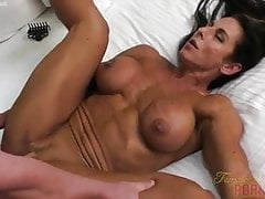 Naked Female Bodybuilder Fucks and Sucks Cock