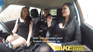 Fake Driving School squirting orgasm busty milf