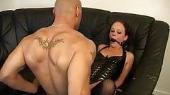 Slim Brunette In Tight Bondage Got Big Black Cock In The Ass