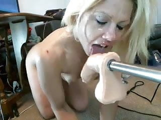 Blonde Cutie Throat Fucked By Fuck Machine On Cam