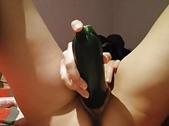 My slut stretches and orgasms with giant zucchini pt. 2