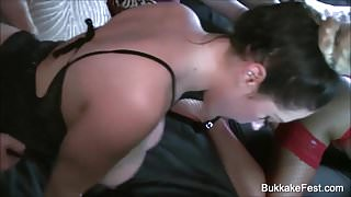 Three Gorgeous Hotties Gangbang Party