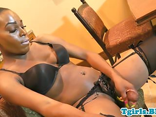 Preview 6 of Bigbooty ebony tgirl in lingerie tugging solo