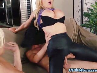 Busty lesbians dominating dude in ffm