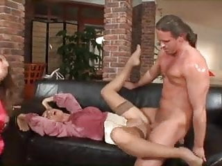 Two posh brunettes serviced by lucky guy