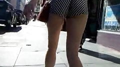 BootyCruise: Striped Booty Shorts & Sexy Legs